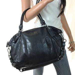 COACH Black Leather Exotic Madison Satchel #15954